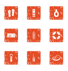 One way ticket icons set grunge style vector
