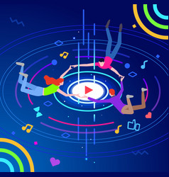 Online music play concept modern isometric online vector