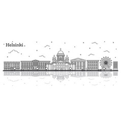 outline helsinki finland city skyline with vector image