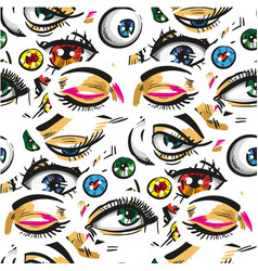Pop art seamless pattern with eyes vector