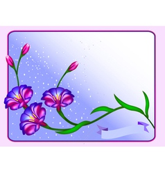 postcard background with flowers and vector image