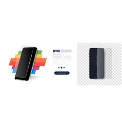 Realistic black smartphone smartphone and screen vector