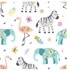 safari childish seamless pattern cute zebra vector image