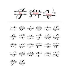 Set initial love monogram split letter isolated vector