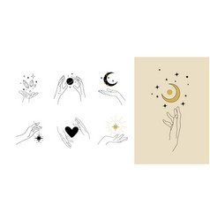 Set modern simple magic drawings with crystals vector