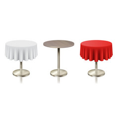 set restaurant round tables with tablecloth and vector image