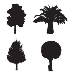 set with four silhouette trees vector image