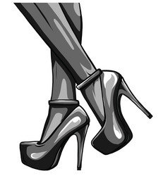 sexy woman legs with black shoes vector image