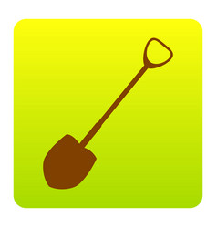 shovel to work in the garden brown icon vector image