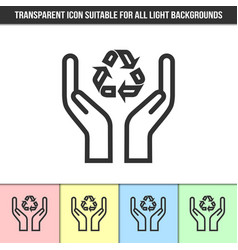 Simple outline transparent caring hands vector
