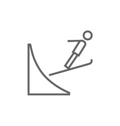 Ski jumping line icon vector image