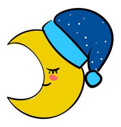 sleeping yellow moon on white background vector image