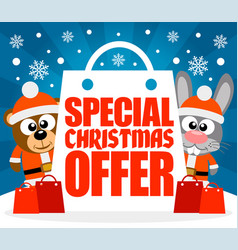 special christmas offer card with bear and rabbit vector image