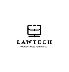 suitcase law and monitor computer logo concept vector image