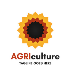 sunflower agriculture logo vector image