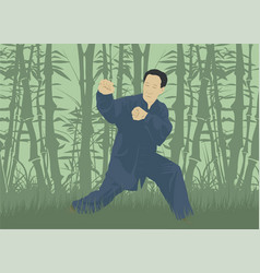 The man demonstrates the technique of kung fu aga vector