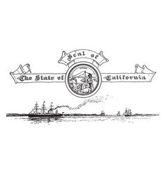 The united states seal of california with the vector