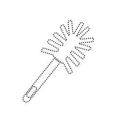 toilet brush doodle black dotted icon on vector image