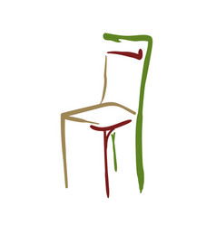 tricolor stylized chair icon 10 eps vector image