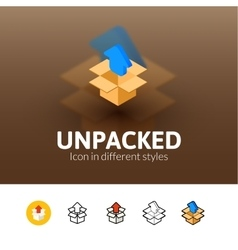 Unpacked icon in different style vector image