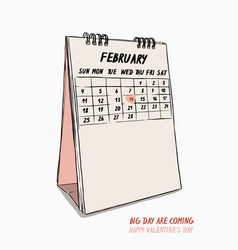 Valentines day hand draw 14th february calendar vector