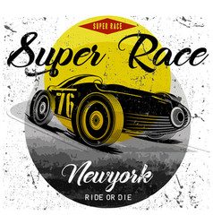 vintage race car for printing old school race vector image