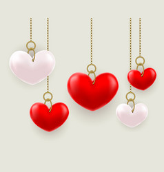volumetric hearts hung on a chain vector image