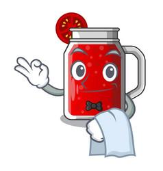 Waiter tasty tomato juice on cartoon table vector