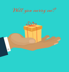 will you marry me hand giving gift box vector image