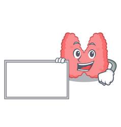 With board thyroid character cartoon style vector