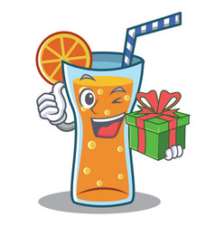 with gift cocktail character cartoon style vector image