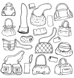 Womens handbags Hand drawn Set 1 vector