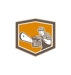 Arborist Lumberjack Operating Chainsaw Shield vector image vector image
