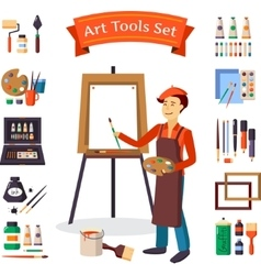 Artist And Art Tools Set vector image vector image