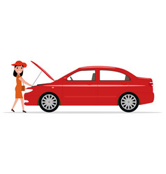 cartoon woman opened hood of the automobile vector image vector image