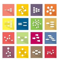 Collection of 16 flow chart diagram icons vector