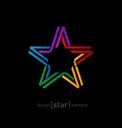 colorful star from ribbon with vintage effect on vector image vector image