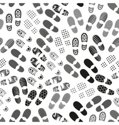 Grayscale human shoes footprint various sole vector
