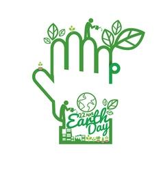 Green Hand Saving Energy Concept vector image
