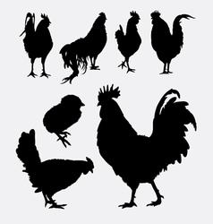 Rooster cock hen chicken silhouette 4 vector image vector image