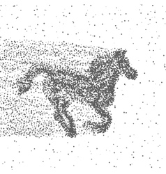 Running Horse Made Of Particles Dotted Background vector image vector image