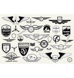 Set emblems elements badges logo aviation vector