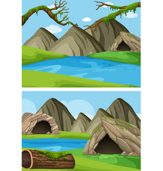 two background scenes with mountains and rivers vector image vector image