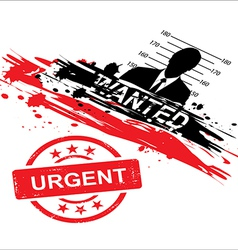 wanted design with stamp urgent vector image