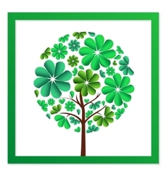 Round tree of green flowers vector image