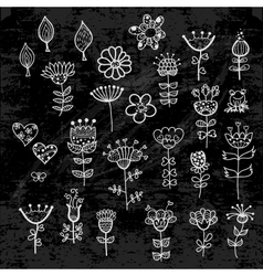 set of the flower elements drawn with chalk vector image