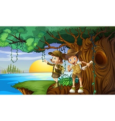 Two kids camping by the river vector image vector image