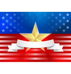 American flag with gold star and ribbon vector image