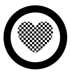 heart with square icon black color in circle vector image