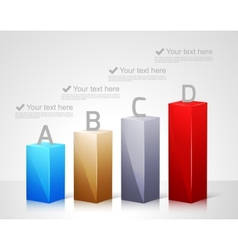 Infographic template with 3d bars vector image vector image
